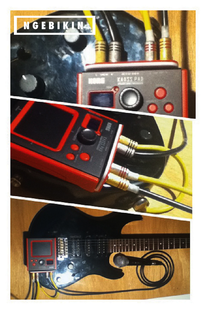 kabel kaossilator yang telah dicolok pada MIDI controller