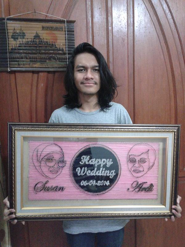 Erwin dan karya DIY string art miliknya
