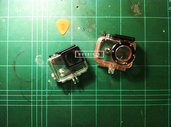 gopro housing left, xiaomi yi waterproof case right