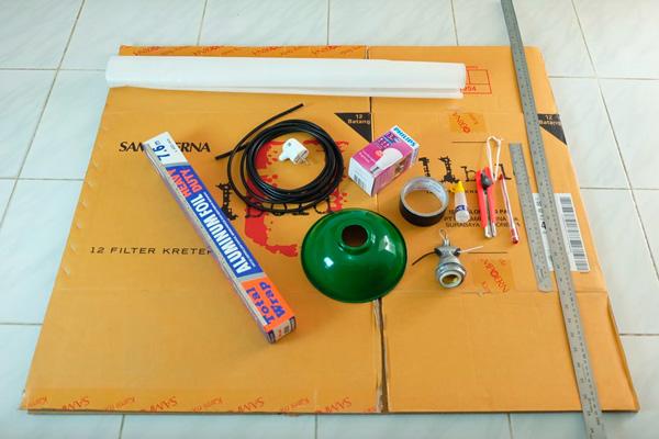 bahan yang dibutuhkan untuk membuat tutorial cara membuat DIY lampu softbox untuk foto